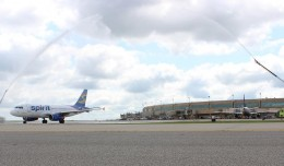 Spirit's first flight out of Kansas City receives a dual water cannon salute. (Photo: Aaron Wright, KC Aviation Dept.(