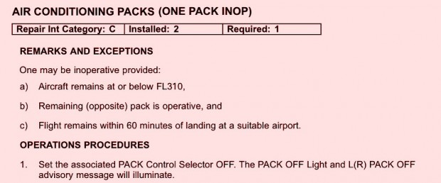 Example of an aircraft Minimum Equipment List - Air Conditioning Packs