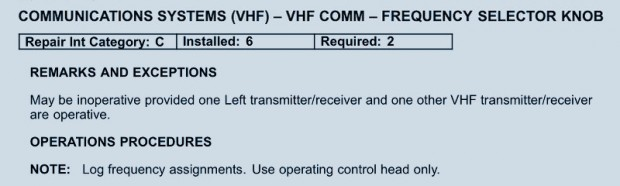Example of an aircraft Minimum Equipment List -- VHF Frequency Selector Knob