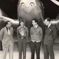 Paul Mantz, Amelia Earhart, Harry Manning and Fred Noonan, Oakland, California,   March 17, 1937, before the first around-the-world attempt. Image via WikimediaCommons
