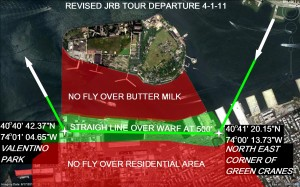 A map of the departure route for tour helicopters from JRB (Source: ERHC)