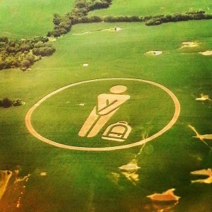 """""""Bare Fare"""" crop circle spotted in a soy field just north of the KC airport – (Photo: Victor Lazo)"""