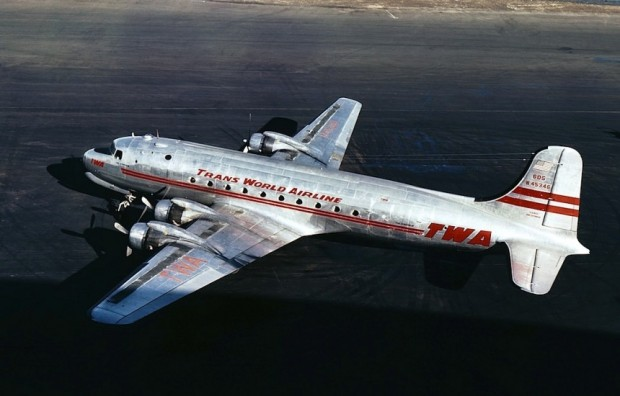 "TWA DC-4 N45346, ""The Acropolis"", poses on the ramp. This is actually a ""civilianized"" C-54 acquired by the airline at the end of World War II. Photographed in the late 1940s, shortly after the ""C"" was removed from ""NC"" registrations. (Jon Proctor Collection)"