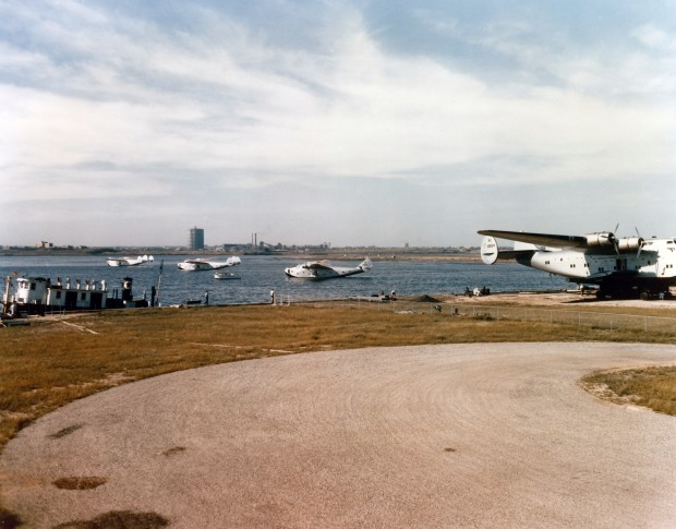 Pan Am's Boeing 314 Flying Boats, seen outside the Marine Air Terminal in March of 1940. (Jon Proctor)