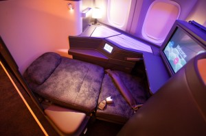 China Airlines' new business class, in bed mode.