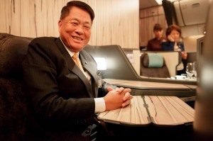 China Airlines' Chairman, Huang-Hsiang Sun, poses for a photo on board his new jet.