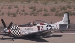 [Screenshot from a P-51 making a gear-up belly landing.]
