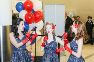 The Victory Belles performing at our gate.