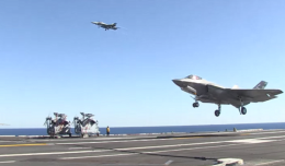 Screenshot: F-35C Completes First Arrested Landing aboard Aircraft Carrier