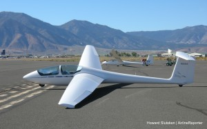 Soaring NV's ASK-21, with a Duo Discus in the background, at the Minden-Tahoe Airport.