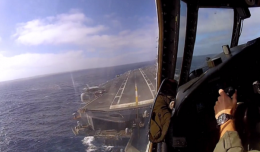 Screenshot from the C-2A Greyhound video. [Scroll down to view.]