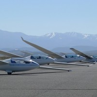 Soaring NV's gliders at Minden-Tahoe Airport – the LS4, two Duo Discus, two ASK-21s. (Photo: Soaring NV)