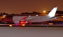 Norwegian Air Shuttle flight 7041 arriving at the gate. Photo courtesy Daniel Morales