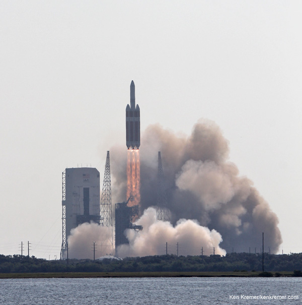Here's how Orion EFT-1 Launch will look! Delta 4 Heavy rocket and super secret US spy satellite roars off Pad 37 on June 29, 2012, from Cape Canaveral, Florida. NASA's Orion EFT-1 capsule will blastoff atop a similar Delta 4 Heavy Booster in December 2014. Credit: Ken Kremer- kenkremer.com