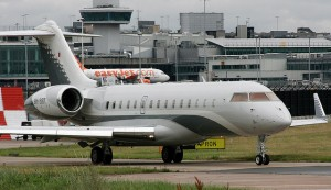 A Bombardier Global 6000 shares many external features to its cousin, the CRJ.