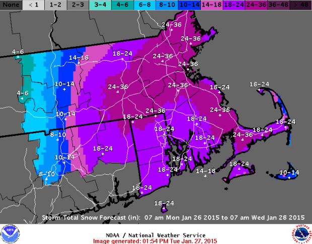 NWS area snowfall forecast for Boston area, as of Tuesday, 1:54pm EST.
