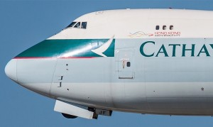 A Cathay Pacific Boeing 747 freighter that began life as a freighter, so no need for window plugs. (Photo credit: Flickr)