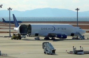 The Boeing DreamLifter's entire tail section swings left for loading extra large items. (Photo credit: Flickr)