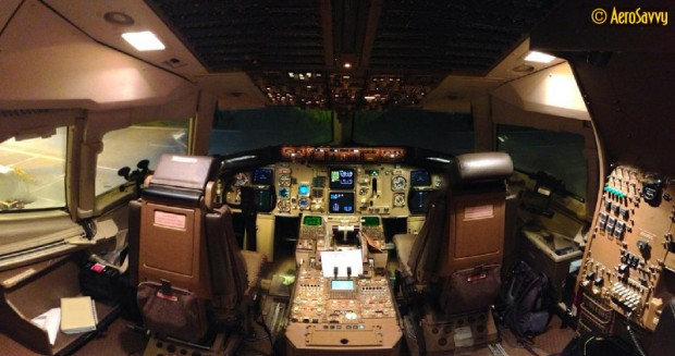767-300F (freighter) forward flight deck is nearly identical to a 767-300ER (passenger)/ (Photo by the author)