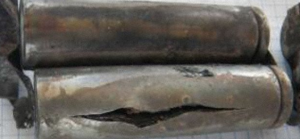 This lithium ion battery was recovered from the UPS 6 wreck. Such items are now forbidden to carry in bulk on passenger aircraft, but not cargo.