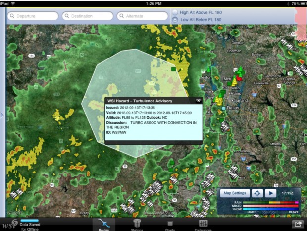 Total Turbulence screen shot courtesy of The Weather Company.