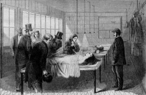 First morgue in New York City, 1866 at Bellevue Hospital.