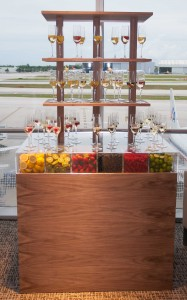 Beverages are served from a multi-tiered, see-through display. (Photo: Mark Lawrence)