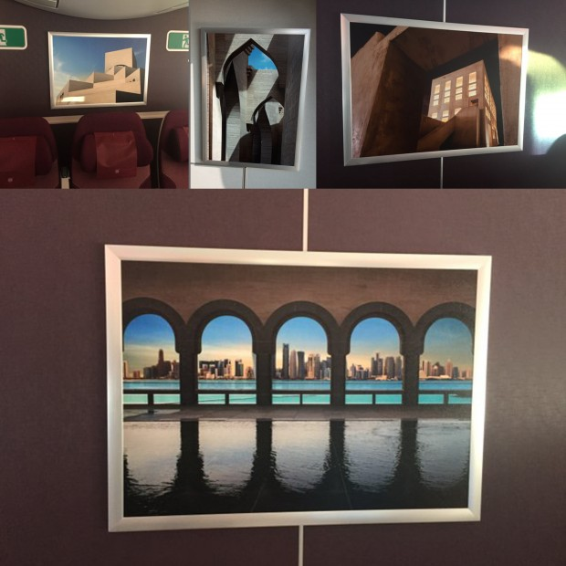 A selection of the artwork displayed around the Qatar Airways A350 cabin.