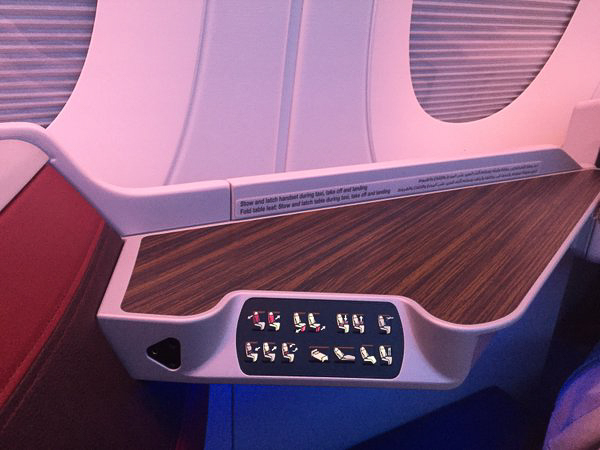 The business class seat controls are very ergonomically situated, no matter what position you're in. Choose from 5 preset positions or create our own! even the armrests are motorized. And if you want a back massage, that is available too.