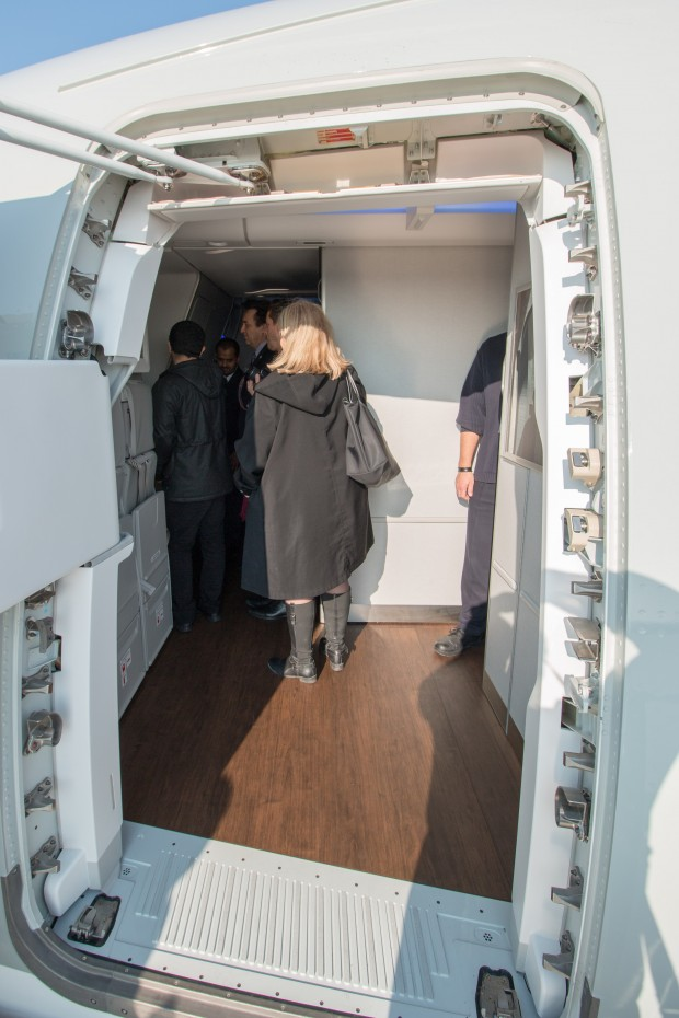 The area near the forward boarding door was fairly large, though not nearly as large or welcoming as the 787's is.