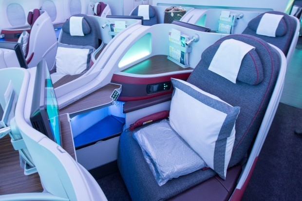 Business Class seats are spacious, and controls for the seat and inflight entertainment are easily accessible.