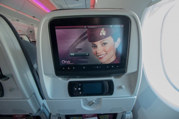 Even in economy, the Oryx inflight entertainment system had huge screens, intuitive controls, and plenty of content.