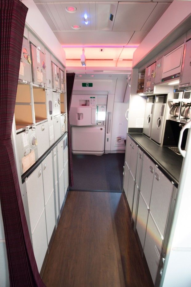 The rear of the A350 has a large amount of galley space. The galley between the rear-most doors can be closed off with doors to provide a changing area for members of the cabin crew. The cabin crew's rest area is accessed from in here.