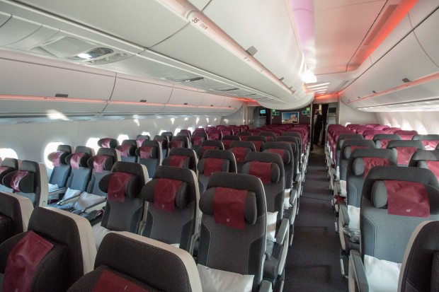 The 9-across economy class cabin felt spacious, though it is hard to tell without other passengers onboard.