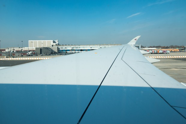 The immense wing of the A350. Remarkably smooth due to the carbon fiber construction.