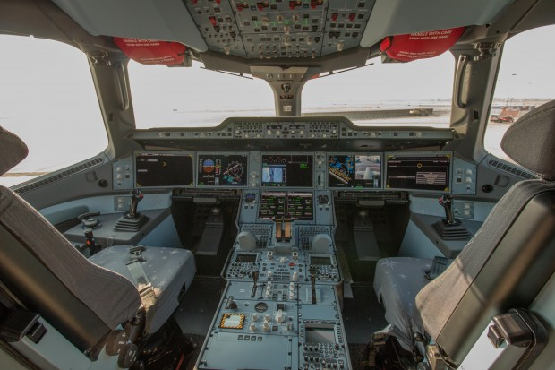 The A350's spacious and modern flight deck.
