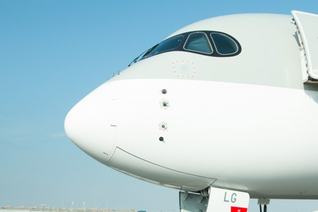 """The streamlined A350 nose with distinctive """"mask"""" around the windows."""