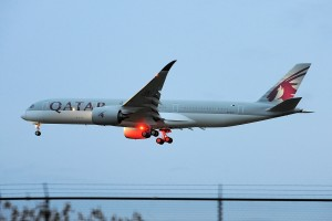 The first scheduled A350-XWB flight to the United States, moments before touching down at PHL.