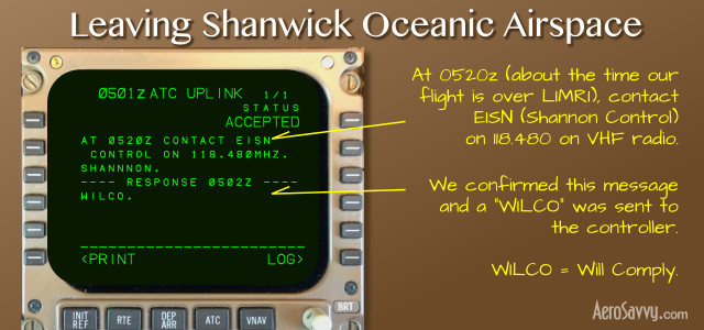 Time to contact Shannon Control as we enter domestic airspace!