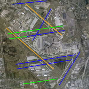 Overview of ORD's runway reconfiguration, with runways to be decommissioned in orange.