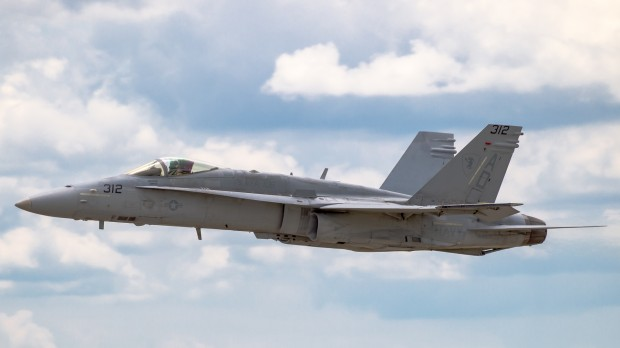 Not to be outdone, the US Navy showed off their F/A-18C.