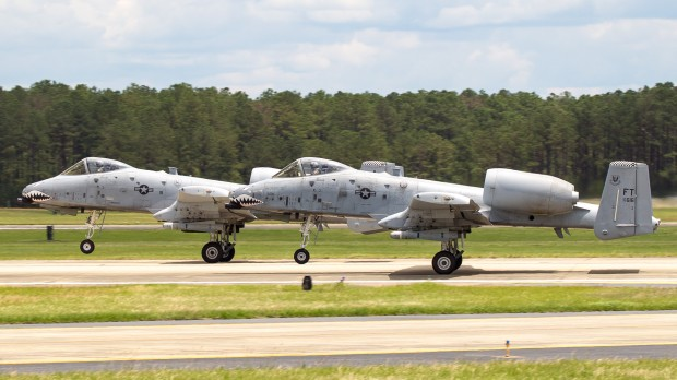 Tandem launch for the A-10s from Pope Field, now Ft. Bragg.