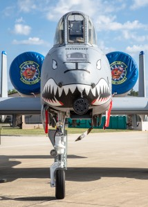 Note how far off-center the nose gear is on the A-10 in order to make space for the GAU-8 Avenger. I love when aircraft are designed with unusual solutions to accommodate weapon systems.