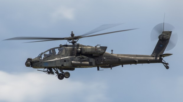 One of the two AH-64s protecting the Blackhawk, about to rendezvous with the ground team.