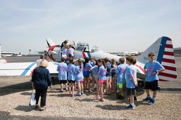 Students explore the North American SNJ-2 aircraft.