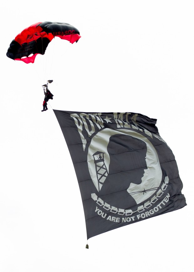 USASOC Black Daggers had multiple jumps throughout the day. Here they bring in the POW/MIA flag.