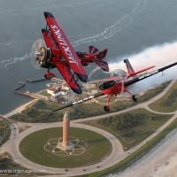 John Klatt Airshows Jet Waco and extra 300 fly over Long Island.  photo Scott Snorteland