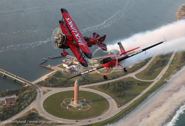 John Klatt Airshows Jet Waco and extra 300 fly over Long Island.  photo Scott Snorteland