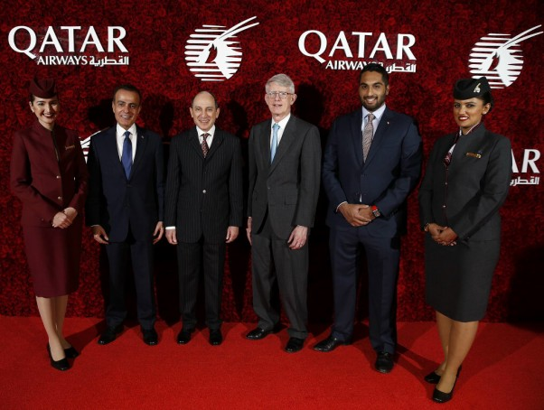 Ambassador of The State of Qatar to the United States, His Excellency Mr. Mohammed Jaham Al Kuwari (left) with Qatar Airways Group Chief Executive H.E. Mr. Akbar Al Baker, Massport Chief Executive Officer, Mr. Thomas Glynn and special guest at the airline's Boston Gala. Photo Courtesy Qatar Airways