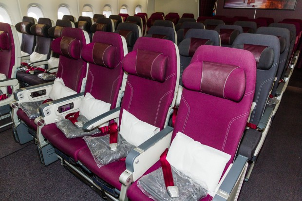 Onboard, the 3-4-3 economy class configuration.
